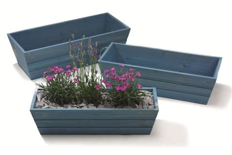 trough planter box forget me not blue wooden window box trough planter small h17cm x l62cm 163 12 45