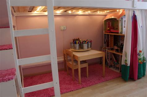 bunk bed with play area underneath mydal loftbed with play area for s room ikea