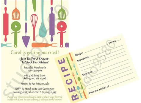 bridal shower recipe invitations printable stock the kitchen bridal shower invitations with matching recipe cards