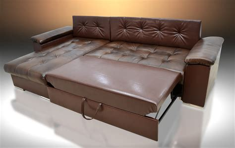 Corner Sofa Bed Leather Real Leather Corner Sofa Bed Mike Universal Brown