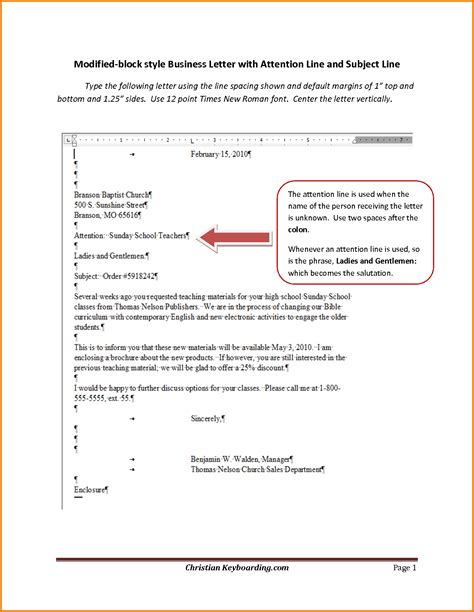 Attention Line Of Business Letter 6 formal letter format with subject financial statement