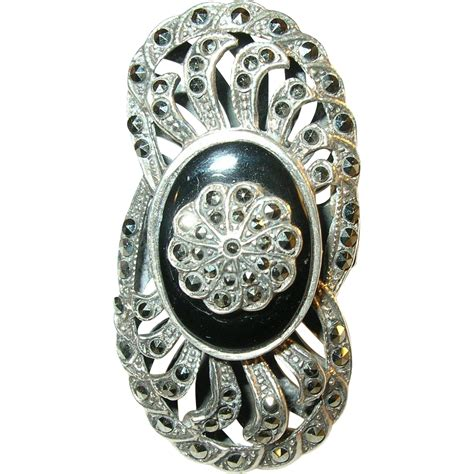 vintage sterling silver black onyx marcasite ring from