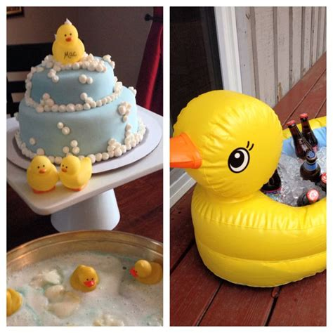 blow up rubber ducky bathtub rubber duck themed baby shower ducky and bubbles cake by