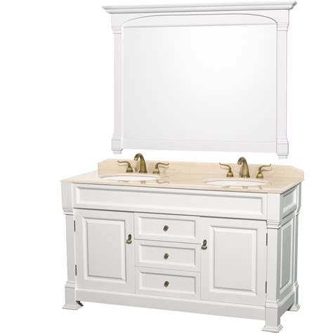 andover 60 inch antique bathroom vanity set white finish