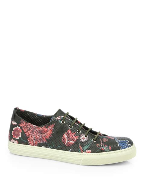 green gucci sneakers gucci flower print leather lowtop sneakers in green green