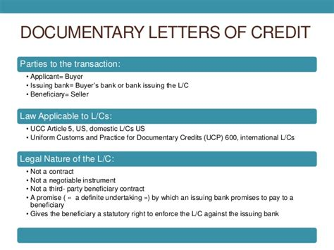 Collection Letter Of Credit Documentary Collection Letters Of Credit
