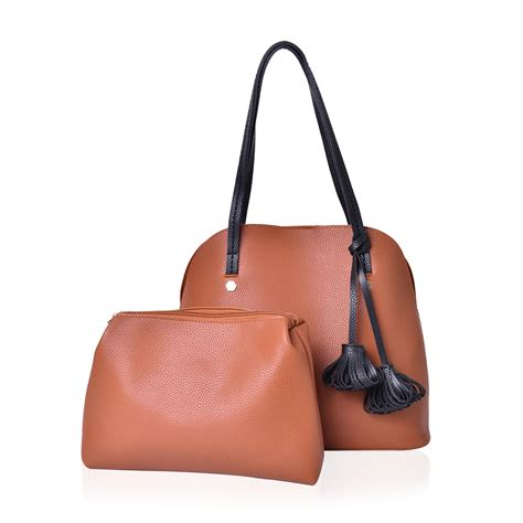 Set Faux Leather Handbag Pouch camel faux leather set of 2 standing studs shoulder bag