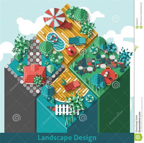 landscape design elements vector illustration landscape design concept stock vector illustration of
