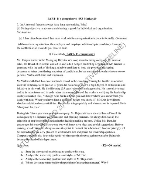 Mba Sle Questions With Answers by Common Guidelines For Model Question Paper Pattern