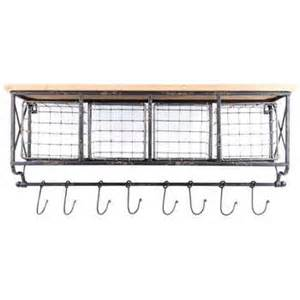 black metal wood shelf with baskets 8 hooks hobby