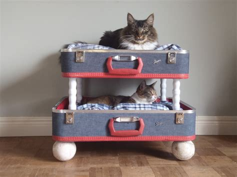 suitcase dog bed lovable luggage pet bunk bed upcycled suitcases reclaimed