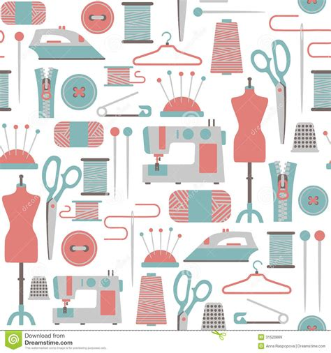 sewing pattern wallpaper sewing pattern stock vector illustration of accessory