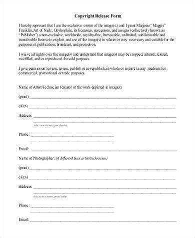 printable html form sle photo copyright release forms 8 free documents