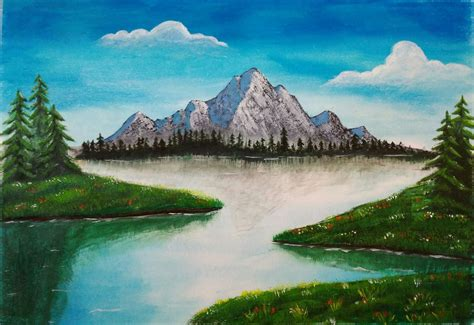 Pisau Lukis draw mountains using acrylic paints and pastels steemit