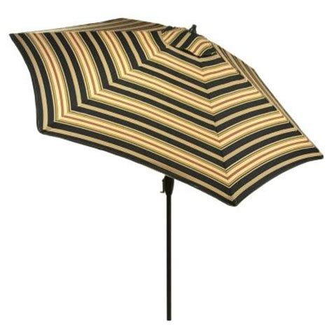 Striped Patio Umbrella 9 Ft Hton Bay 9 Ft Aluminum Market Patio Umbrella In Charcoal Stripe With Push Button Tilt 9900
