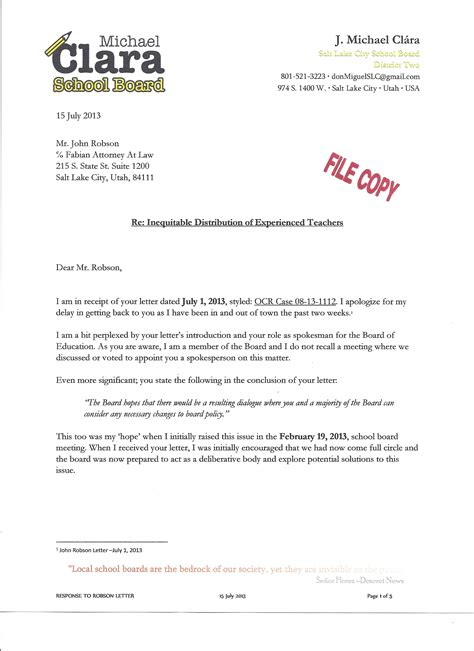 Complaint Letter Sle For School Michael S Response To School District Attorney About Ocr Complaint Letter Local School