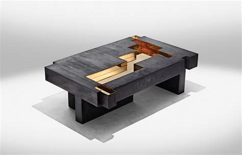 bronze and wood coffee table metals studio nucleo