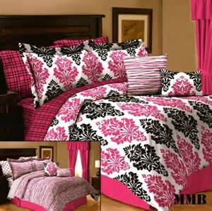 Black White And Pink Bedding Sets 10pc Pink Black And White Damask Comforter Bedding Set