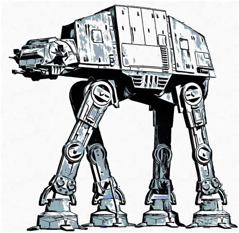 imperial walker coloring pages all terrain armored transport at at walker drawing by