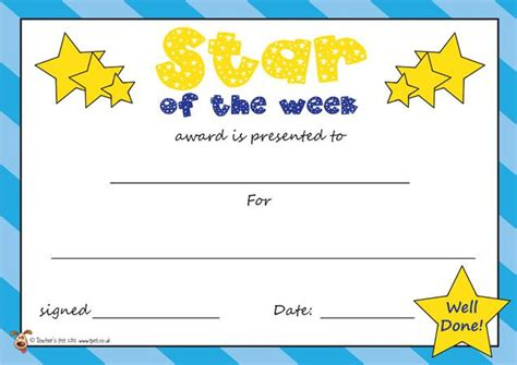printable star of the week form teacher s pet star of the week certificate staton the