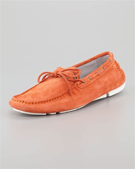 just for shoes just cavalli suede driving shoe in orange for lyst