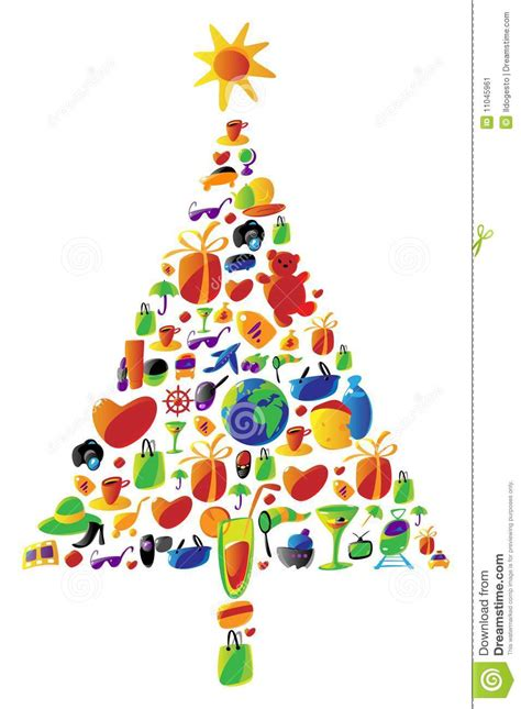 christmas tree made of icons stock vector image 11045961