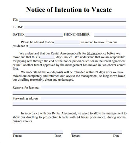 sample notice vacate letters