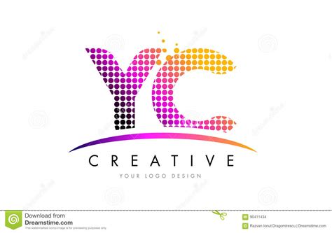 y design graphics yc y c letter logo design with magenta dots and swoosh