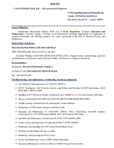 Sample Resume Format Work Experience by Resume Electrical O Amp M Engineer