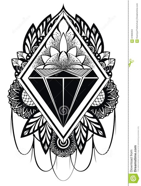 diamond tattoo stock vector illustration of heart ruby