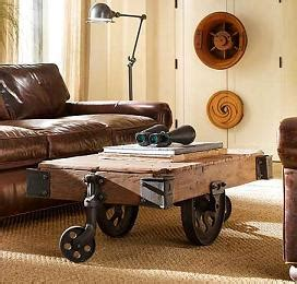 Old Factory Carts Turned into Coffee Tables