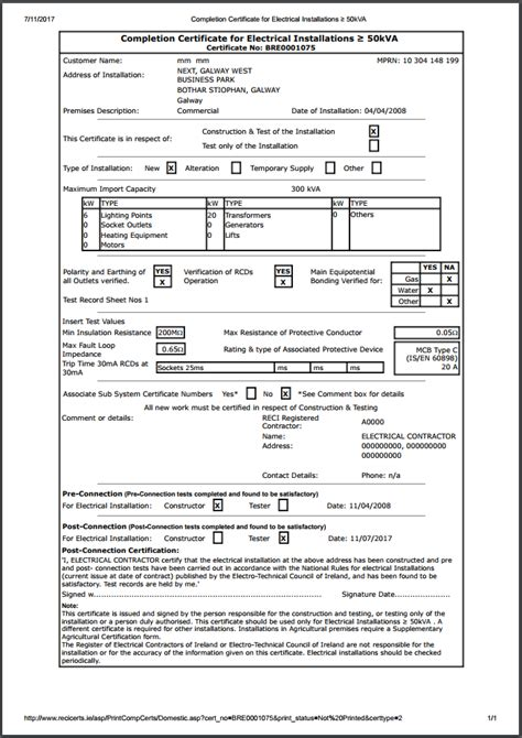 Electrical Installation Certificate Template by Electrical Installation Test Certificate Template Pat