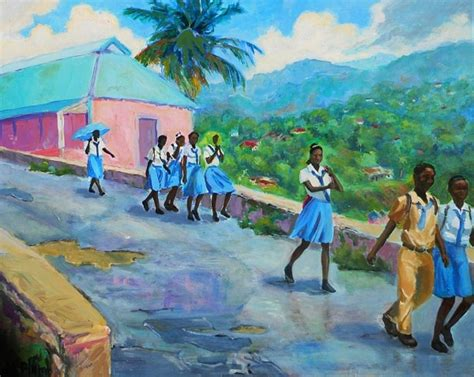 painting for school school s out in jamaica painting by margaret plumb