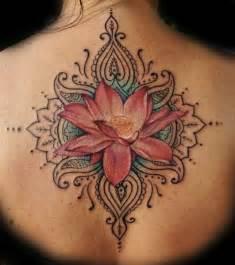 Buddhist tattoos red lotus flower design on back