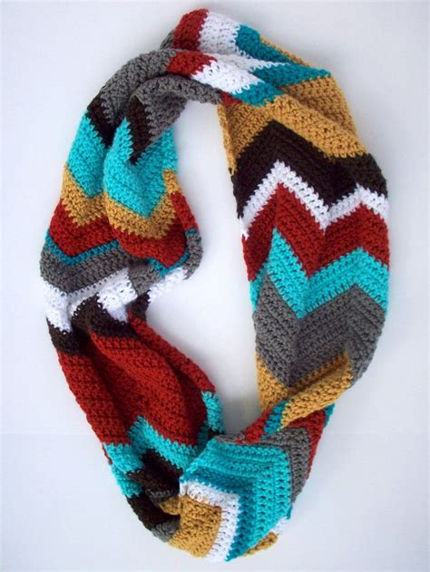 crochet chevron patterned infinity scarf multicolored