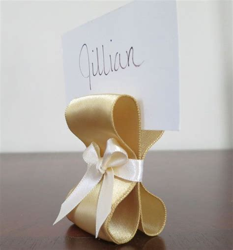gold wedding table number holders table settings wedding decor gold and ivory satin ribbon