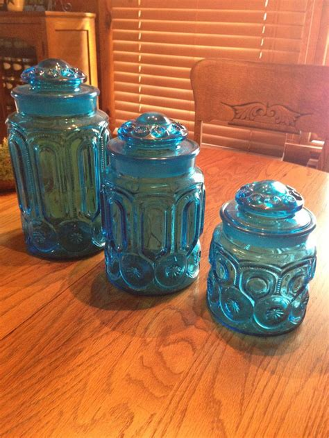 glass kitchen canister set set of 3 vintage l e smith colonial blue moon stars glass