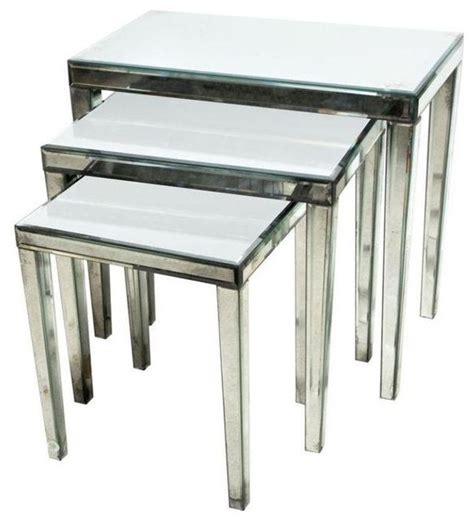 nesting accent tables pre owned mirrored nesting tables set of 3 contemporary