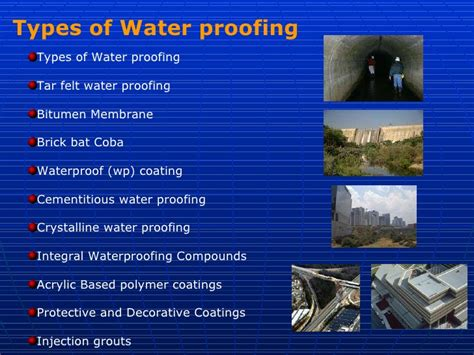 types of waterproofing methods used in construction industry