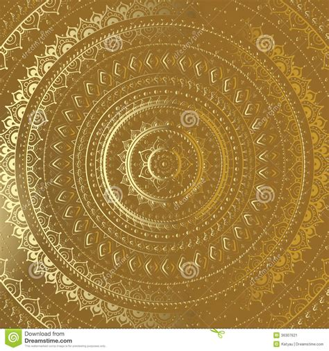gold indian pattern gold mandala indian decorative pattern stock