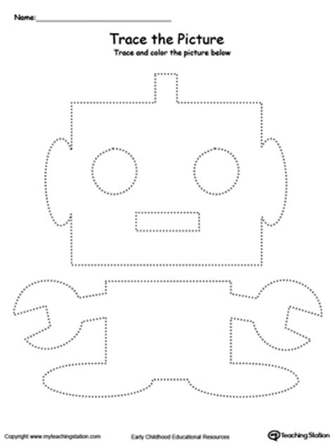 Motor Tracing Worksheets by Robot Picture Tracing Motor Skills