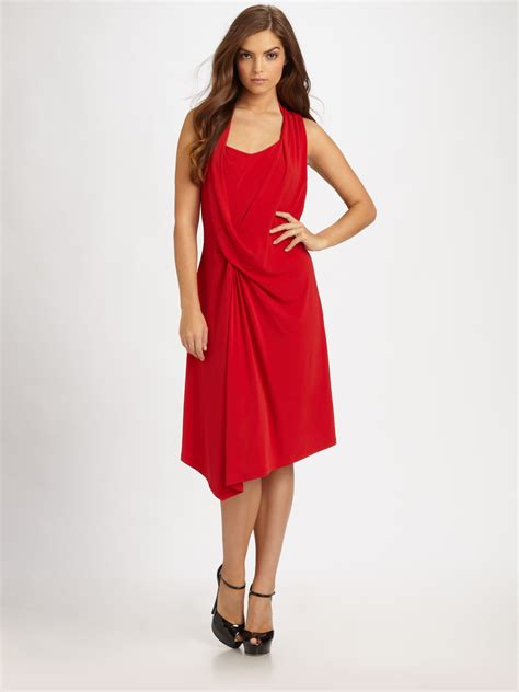 drape front dresses michael michael kors halter drape front dress in red lyst