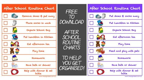after school routine charts to help you get organised