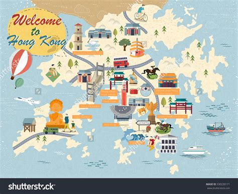 image gallery hong kong tourist attractions attractive hong kong travel map with attractions icons in