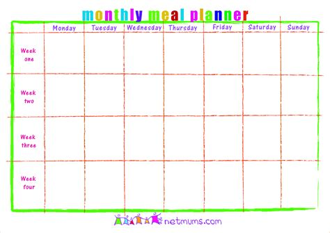 monthly menu planner template 8 monthly menu planner template procedure template sle