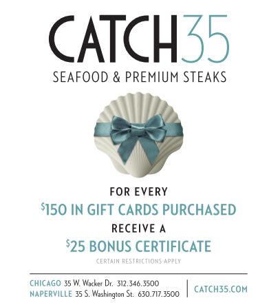 Chicago Restaurant Gift Cards Online - gift cards for catch 35 seafood and steaks in chicago and naperville