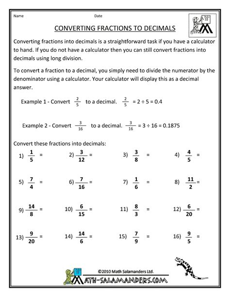 Worksheet On Converting Fractions To Decimals by Converting Fraction To Decimal Worksheet Free Convert