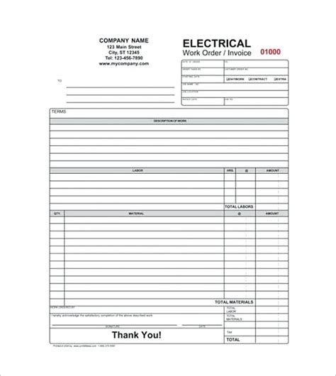 Free Service Invoice Template Format And Writing Tips Electrical Service Invoice Template