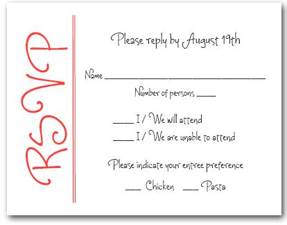 wedding rsvp wording sles scarlet on white rsvp cards reply cards response cards