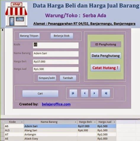 membuat database keuangan dengan access contoh database barang warung menggunakan access